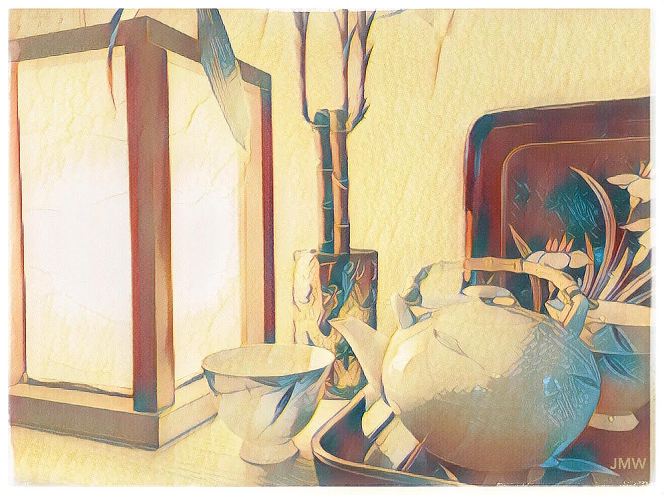 tea set and lamp